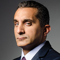 "<font color=""#287b9e""><b>Bassem Youssef, <i>The Joke is Mightier than the Sword</i></b></font>"